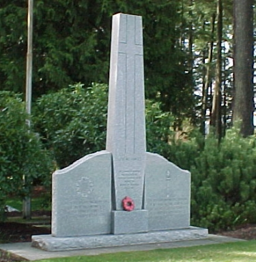 The Blue Mountain Cenotaph, located in Blue Mountain Park, unveiled on October 21, 1972, dedicated by Coquitlam Legion Branch #263, in memory of the men and women of the Armed Forces who served their Country.