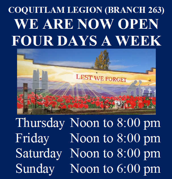 Coquitlam Legion - Hours of operation - January 16th 2021