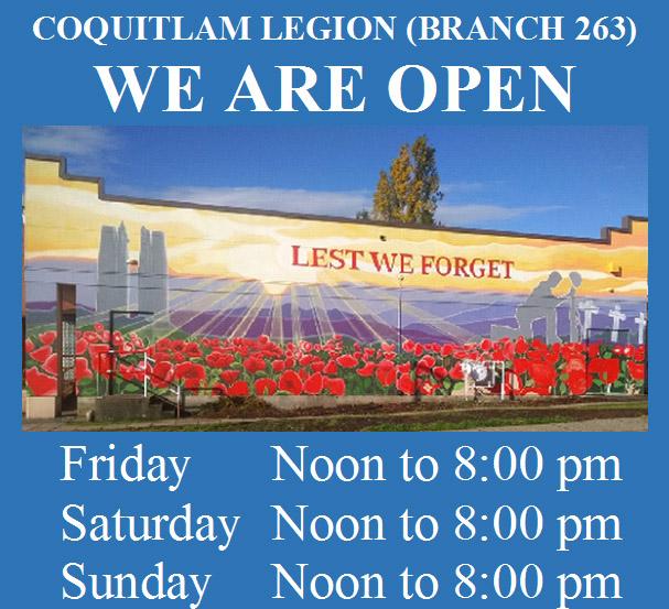 Coquitlam Legion - Hours of operation - January 2021